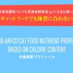 似たキャットフードでも体質に合わない理由!同じ栄養素濃度(%)でも摂取栄養素量(g)に大きな違いが出る!AAFCOの基準の見方